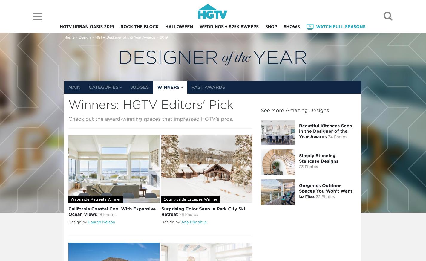 HGTV Designer of the Year Screenshot