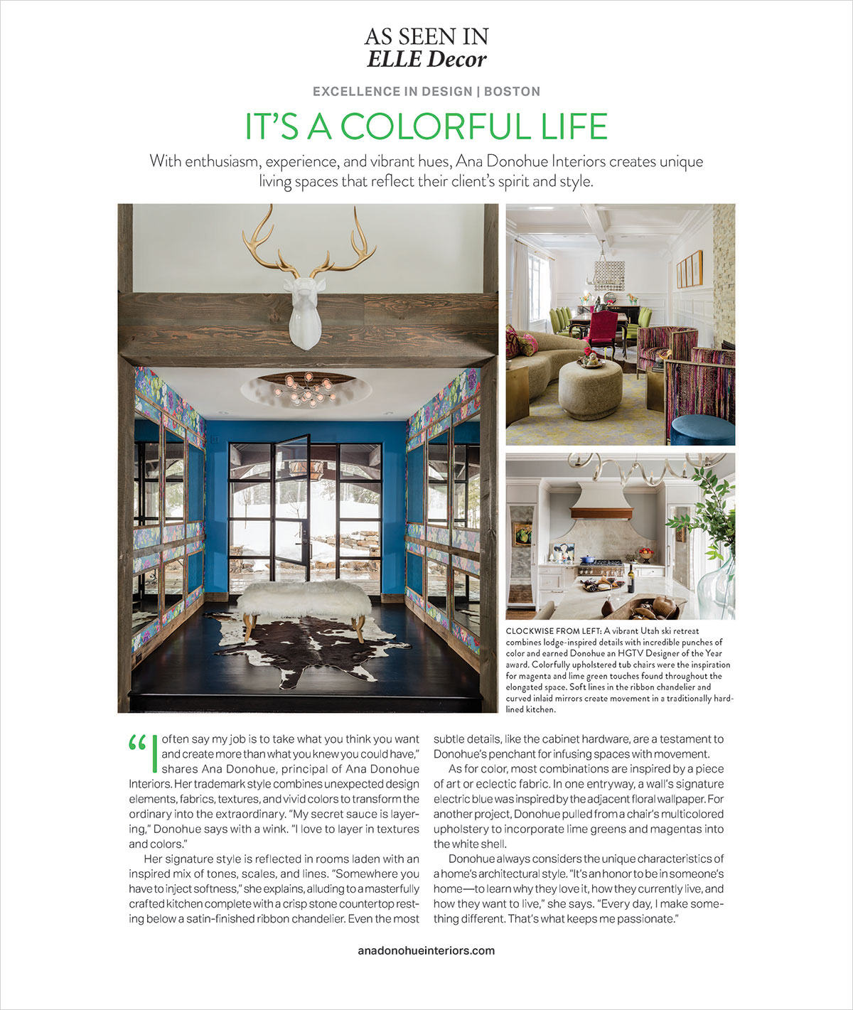 Elle Decor Magaine features Ana Donohue Interiors