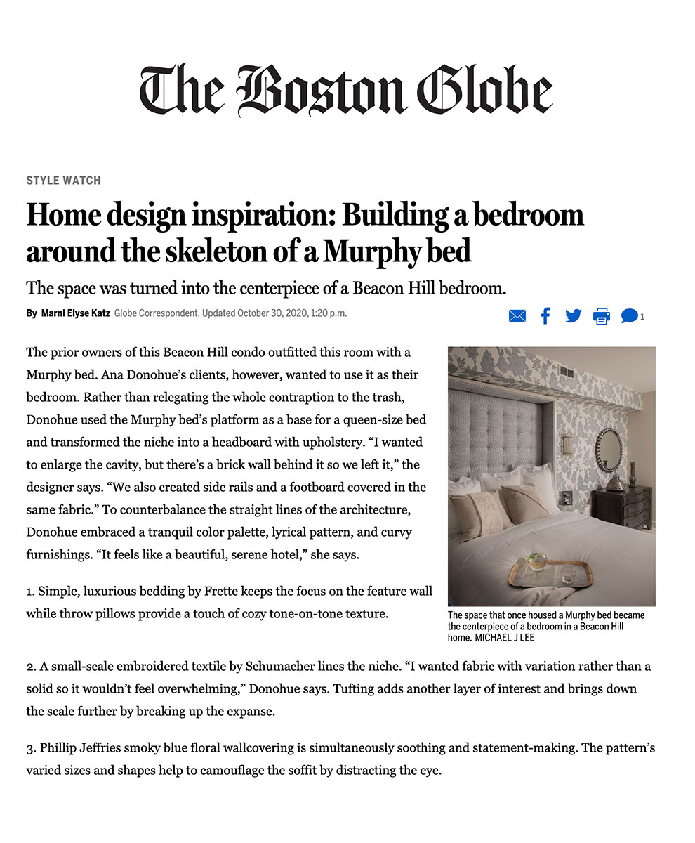 Boston Globe - Bedroom Design by Ana Donohue